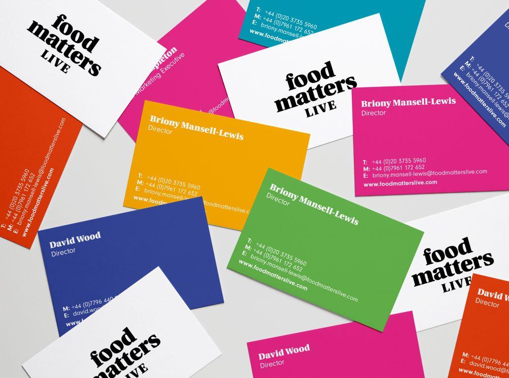 Straightforward. Food matters Live rebrand. Business cards