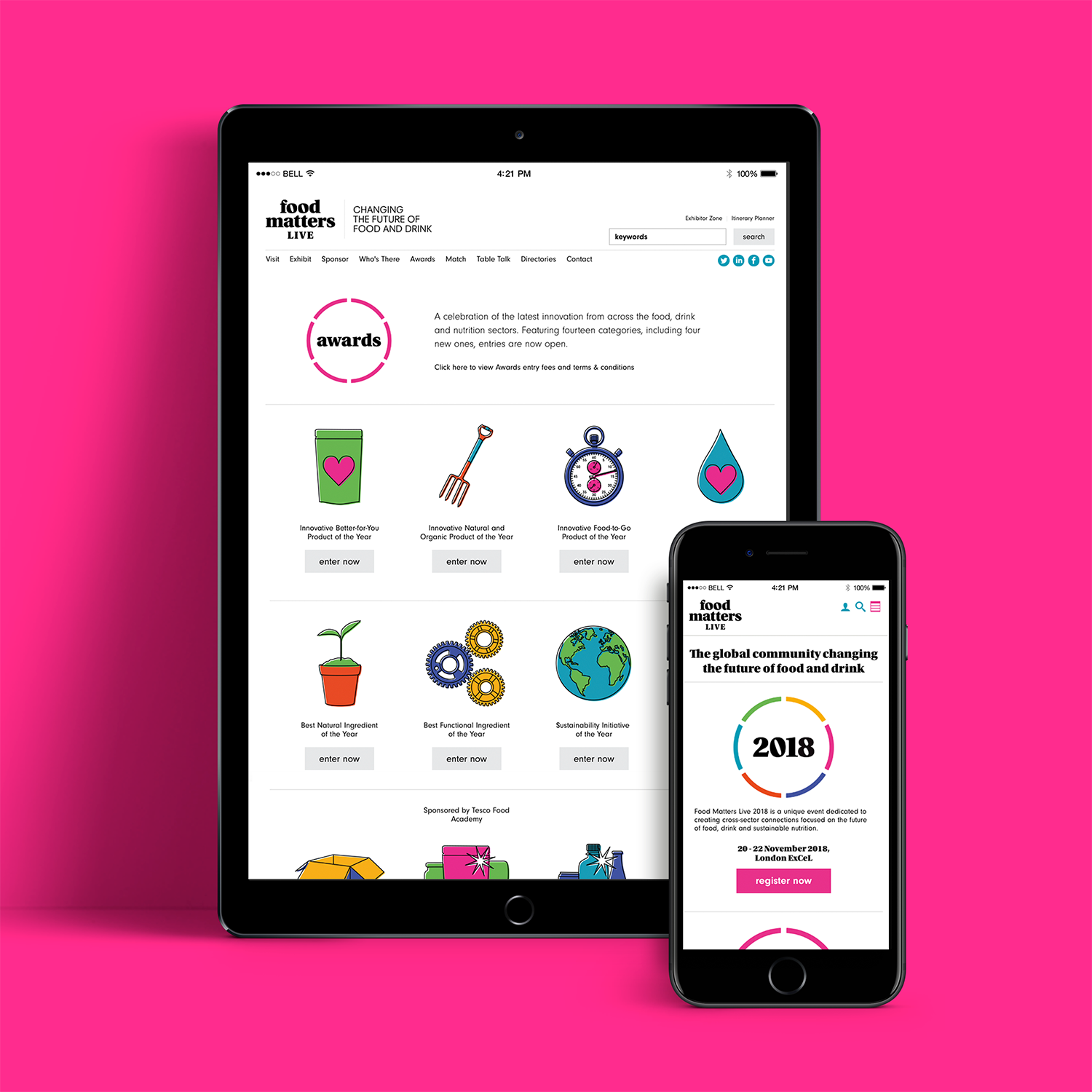 Straight Forward. Food matters Live rebrand. Website home page on iPad and iPhone