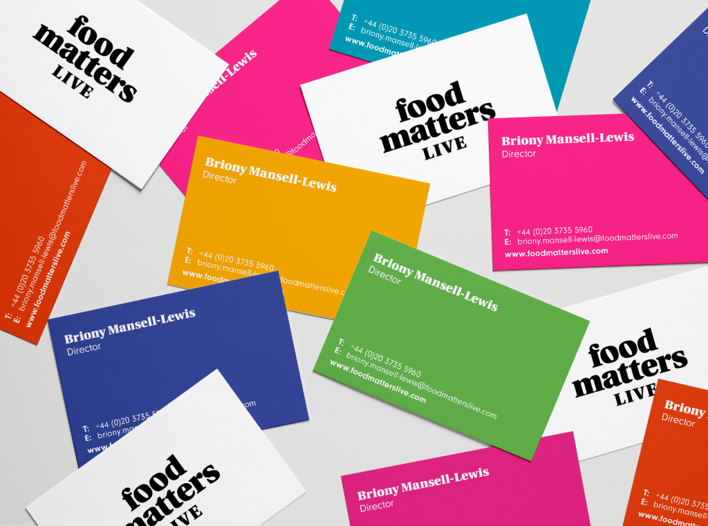 Straight Forward. Food Matters Live rebrand. Business cards