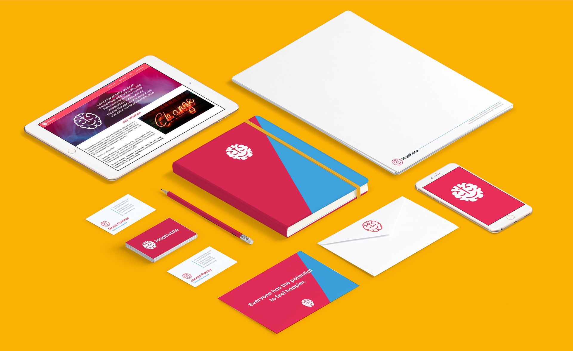 Straight Forward Haptivate Brand Creation: Haptivate stationery design