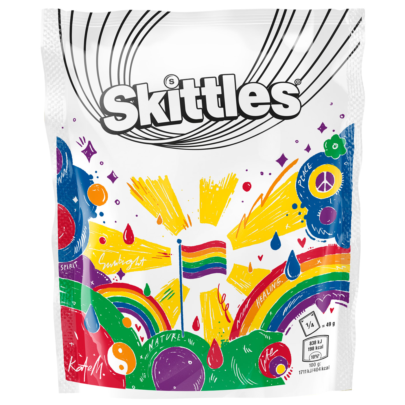 Straight Forward Skittles Pride 2019 Limited edition packaging: Packaging Design with Kate Moross