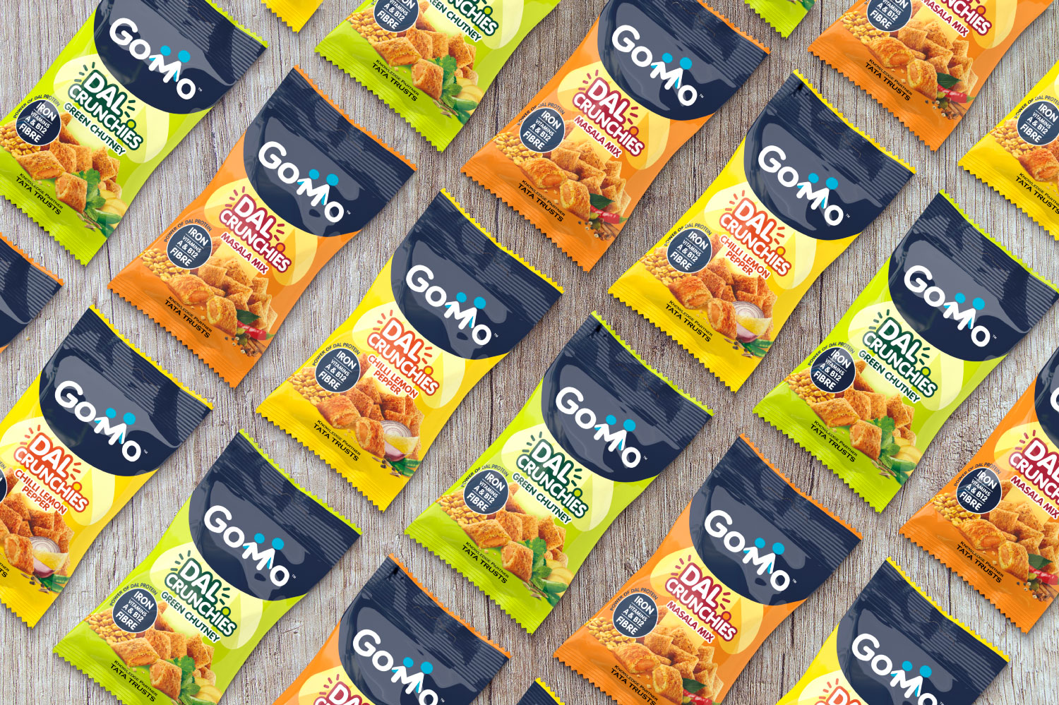 GoMo dal crunchies packaging